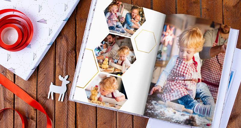A 24x24 Photo Book with a Christmas template filled with Christmas photo shoot pictures