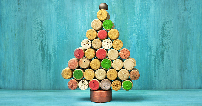 A Christmas tree made from wine corks.