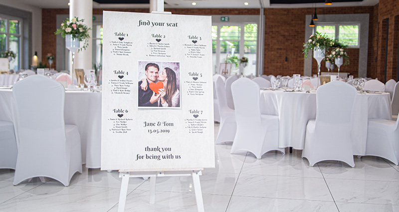 A big photo canvas with a photo of the bride and groom on an easel in the middle of a ballroom. A list of wedding guests' surnames near specific table numbers around the photo. Tables and chairs decorated in white in the background.