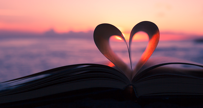 A book with a heart and a sunset, custom valentines day gifts