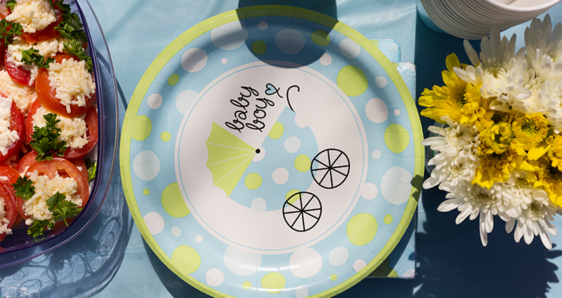 A child-themed paper plate
