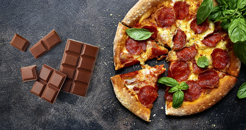 A cut pizza and chocolate