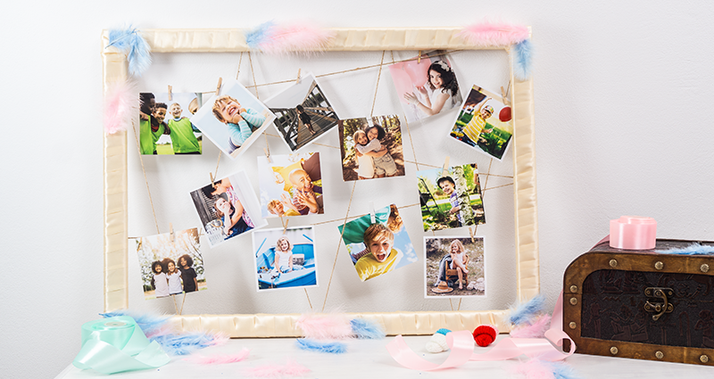 A frame with childhood photos