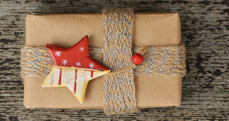 A gift decorated with a star.