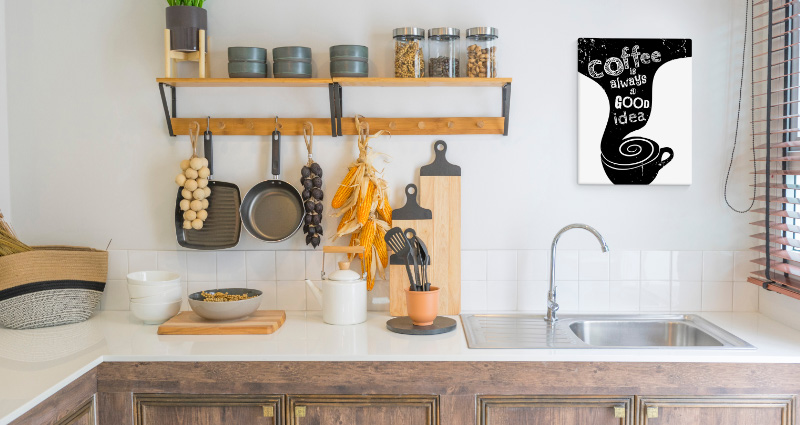 A kitchen decorated with the 'Coffee Lover' Canvas.