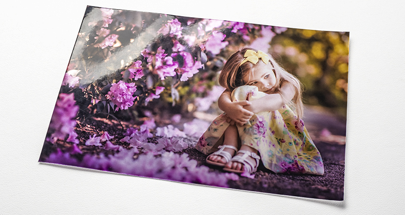 A photo of a girl sitting next to purple flower bushes – a photo printed on the METALLIC paper.