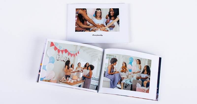 A softcover A5 baby shower Photo Book