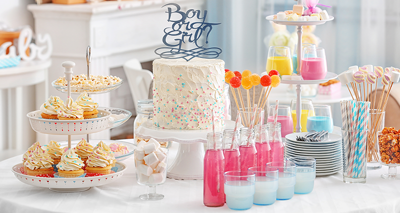 A table full of sweet things for the baby shower party