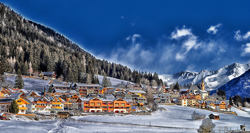 Alpine village during winter.
