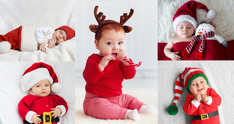 Baby photo shoots in various Christmas outfits