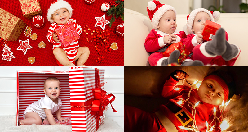 Baby photo shoots with Christmas ornaments and accessories