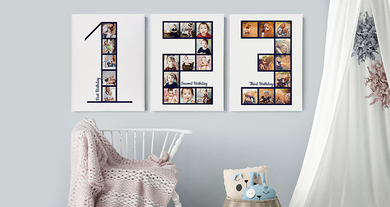 Birthday Photo Canvases on the wall in a nursery