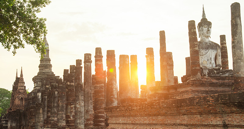 Buddha's Monument in Sukhothai, a photo taken at sunrise