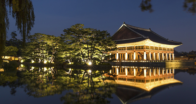 Building in a Japanese style and trees which are reflected in the lake; a picture taken at night
