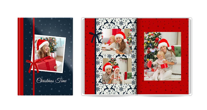 Christmas Time, a template of a photobook – a photo of a closed and open book.