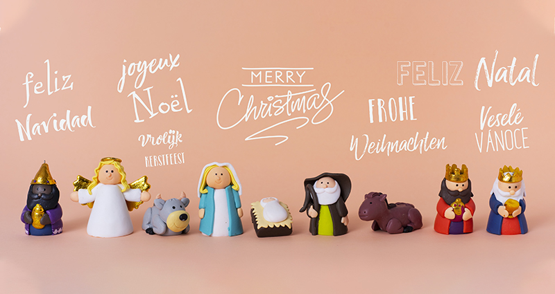 Christmas symbols and greetings in different languages