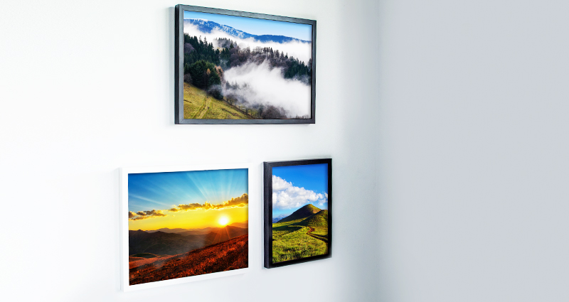 Collection of 3 framed holiday photo canvases