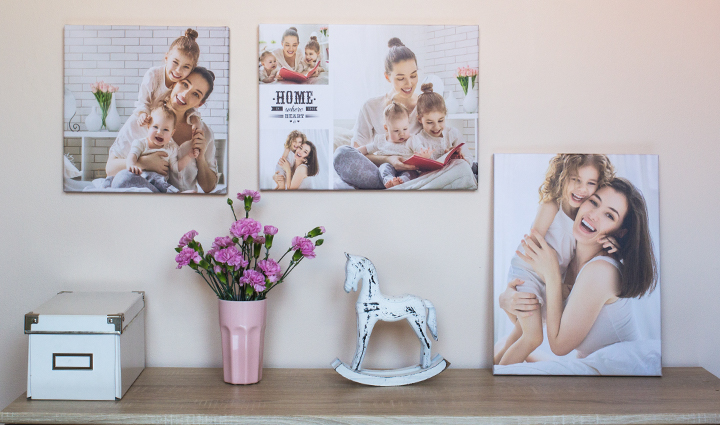 Collection of canvases of mother and daughter