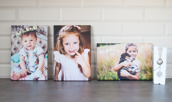 Collection of photo canvases on a countertop