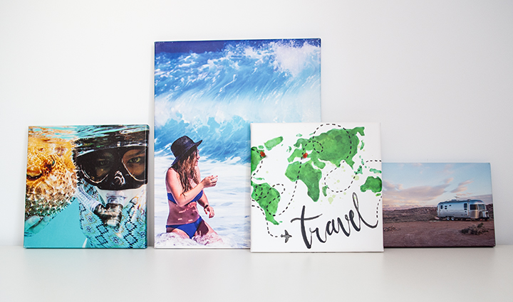 Collection of travel photo canvases with a picture which portrays a map