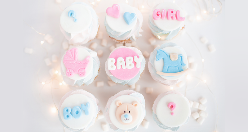 Cupcakes with child-themed decorations