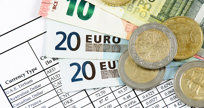 Euro Money and exchange rate board