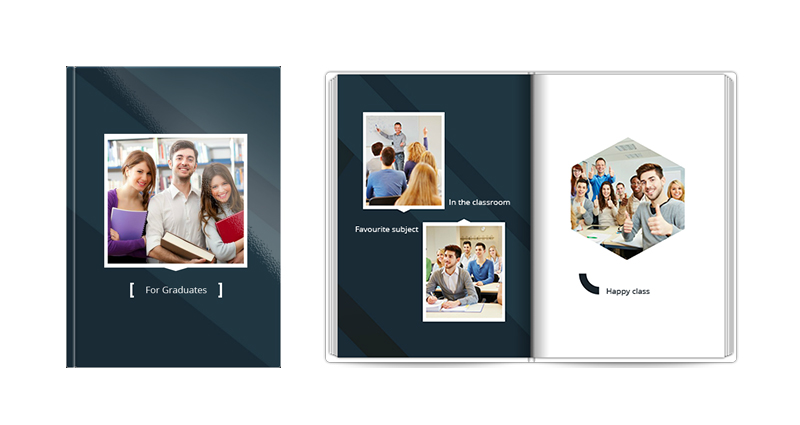 For graduates – an elegant yearbook template in white and navy blue colours, perfect for secondary school pupils and students.