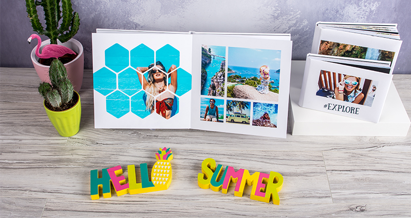 Holiday luxury photo albums in three formats, summer composition