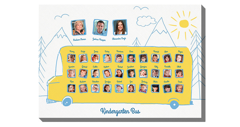 Kindergarten Bus – photo canvas for preschoolers in yellow and blue colours.