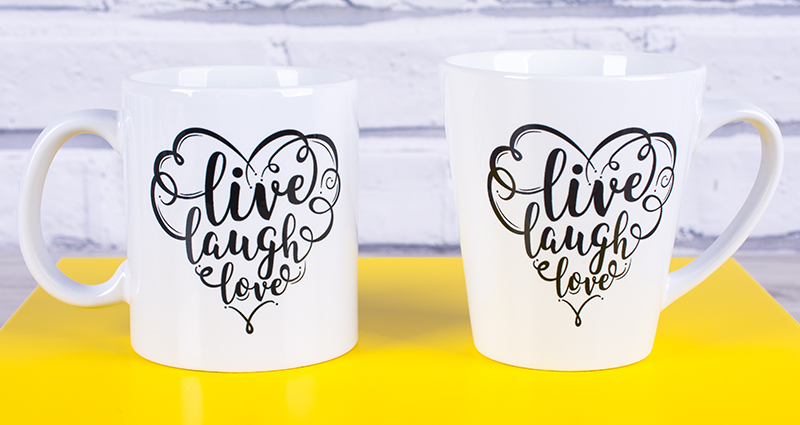 Latte and Coloured Mug on a yellow tray, template: Live Laugh Love.
