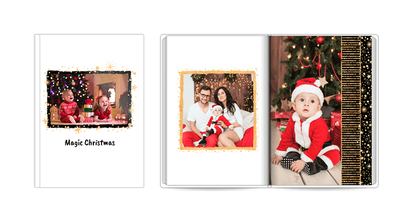 Magic Christmas, a template of a photobook – a photo of a closed and open book.
