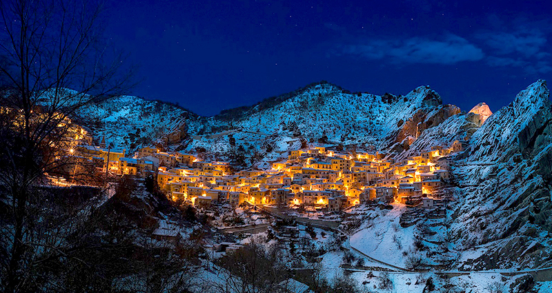 Mountain village on a winter evening