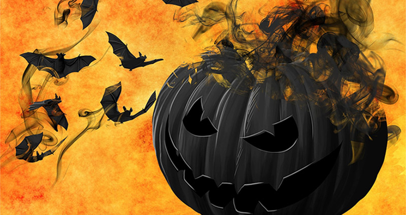 Orange-black graphics about Halloween with flying bats.