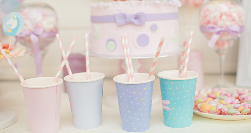 Pastel cups on the table