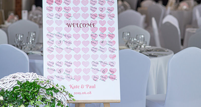 Picture of a list of wedding guests on a photo canvas with watercolour heart template on an easel. White tables in the background and a flower decoration nearby.