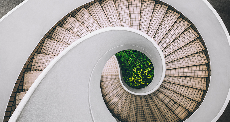 Picture of spiral stairs taken from above