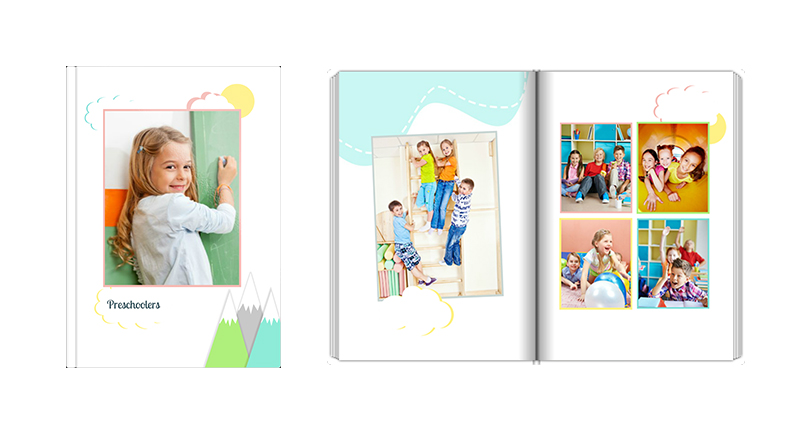 Preschoolers – perfect for a school photobook for preschoolers created in pastel colours.