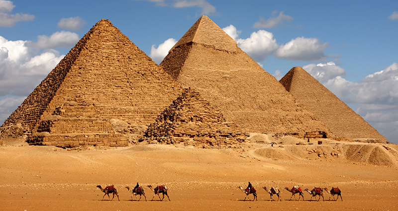 Pyramids in Giza (of Cheops, Chephren, and Mykerinos)
