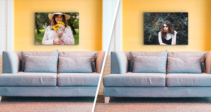 Replacing a Canvas in the living room – before and after.