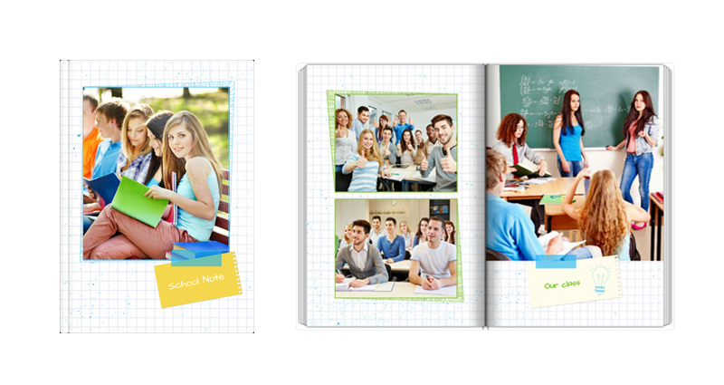 School Note – a yearbook template looking like a notebook.