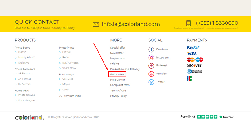"Screenshot of the main website of colorland.com with ""Bulk Orders"" tab marked in the footer"
