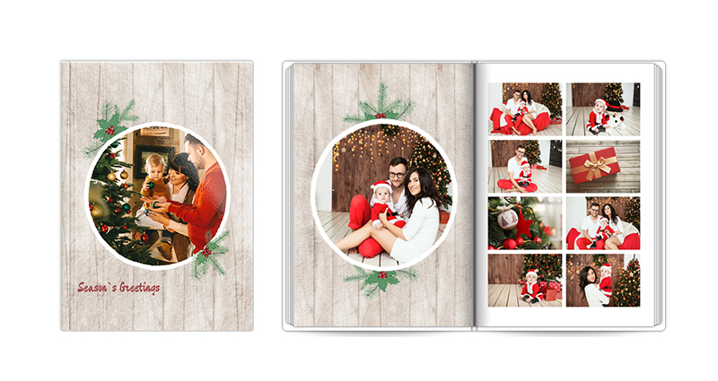 Season's Greeting, a template of a photobook – a photo of a closed and open book.