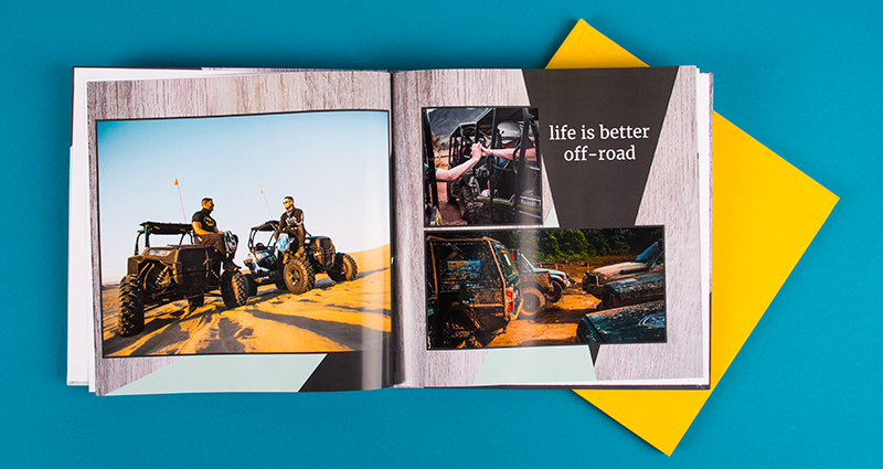 Square Photobook exclusive with photos of an off-road trip, a closed photobook in a yellow textile cover in the background