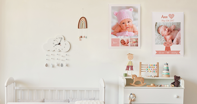 Sweet Angel Pink Photo Canvas on a wall in a nursery