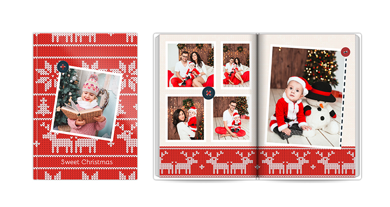 Sweet Christmas, a template of a photobook – a photo of a closed and open book.