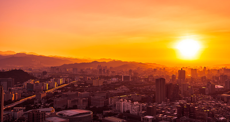 Taipei, Taiwan's capital city, a photo taken at sunset