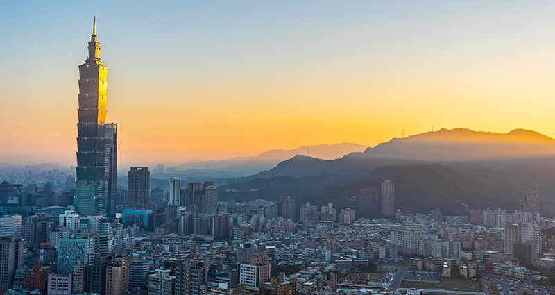 The panorama of Taipei, Taiwan's capital city, taken at sunrise