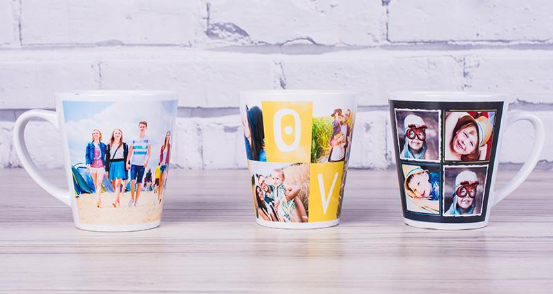 Three colourful latte mugs with photos
