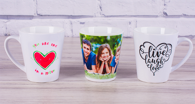 Three latte mugs – two mugs with a premade template, one mug with a photo