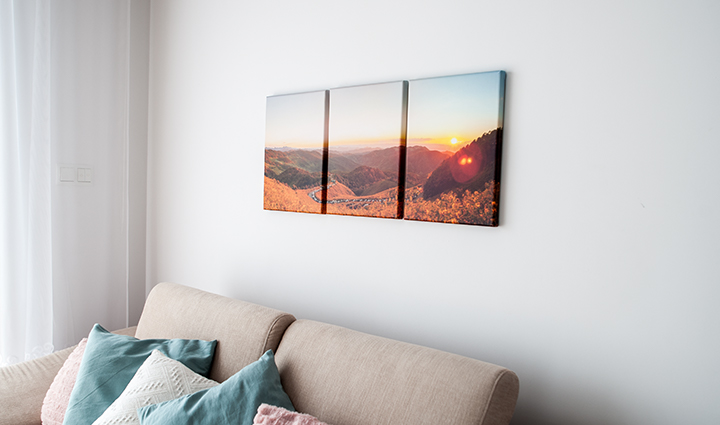 Triptych photo canvas on a wall